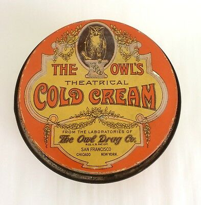 Antique Owl's Theatrical Cold Cream Tin (with contents!)