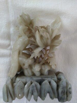 Soapstone carving, green peacock motif, vintage, CHINA