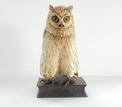 Cold Painted Austrian Bronze Sculpture Depicting Owl on Books Namgreb
