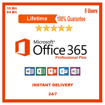 Office 365 Pro Plus Subscription 5 Users for PC Mac Tablet LIFETIME Account 2016
