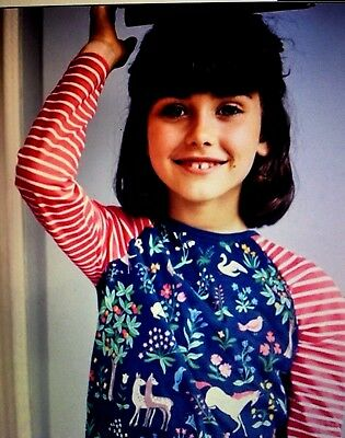 NWT 4/5 5/6 or 7/8 Mini Boden Hotchpotch L/S Tee Navy Body & Red Striped Sleeves