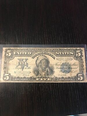 1899 $5 Five Dollar Silver Certificate Indian Chief Note ~ Antique Paper Money