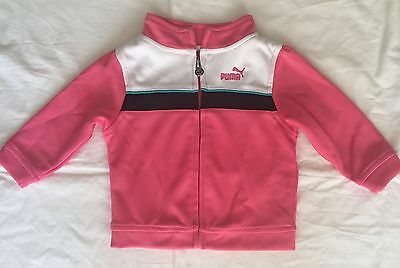 Puma Baby / Girl Zip Up Jacket Pink With Whith Black & Blue Size 6-9 Month ~Euc