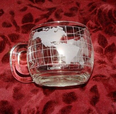 Nestle's Vintage Etched Glass Coffee Mug Cup WORLD Map 1970s
