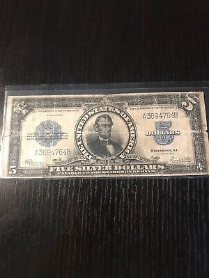 1923 $5 Five Dollars Porthole Silver Certificate Lincoln Large Size Note