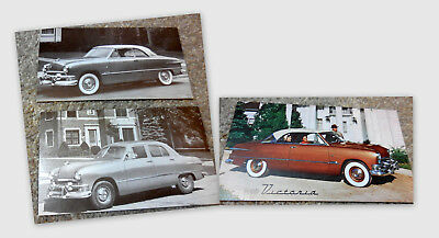 Three 1951 Ford Postcards Fordor Sedan & Victoria (brochure catalog)