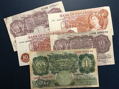 LOT Great Britain Bank Of England 1 Pound and 10 Shilings, 5 (FIVE) VF Banknotes