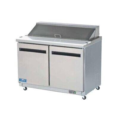 "Arctic Air AST48R 48"" 2-Door Refrigerated Sandwich Prep Table 