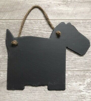 Handmade Natural Slate Dog Chalkboard Shabby Chic Message Memo Rustic Plaque