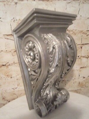 ~Beautiful Large Antiqued Silver Architectural Corbel Wall Shelf Farmhouse Chic!