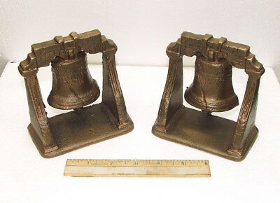 Cast Bronze Brass Bookends Liberty Bell Pass & Stow Book End Door Stop Vtg Rare