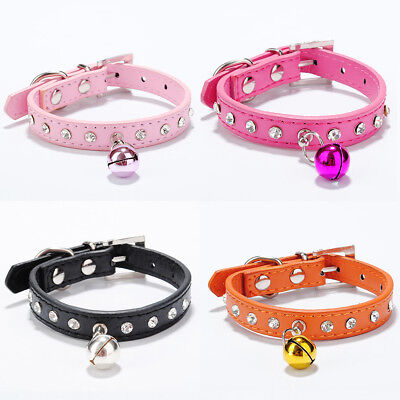 Pet Puppy Dog Rhinestone Bell Decor Faux Leather Neck Strap Buckle Collar Super