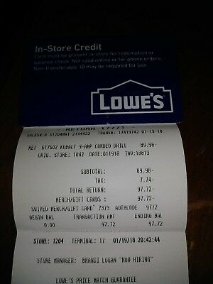 lowes store credit 97.72