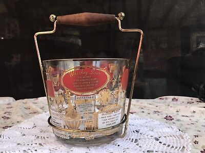 Mid~Century Vintage Drink Recipe Ice Bucket with Metal Holder with Wooden Handle