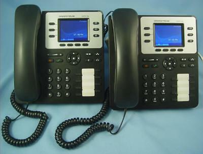 Lot Of 2 Grandstream Gpx-2130 Ip Phones, Ac Adapters, Desk Brackets Mint Shape