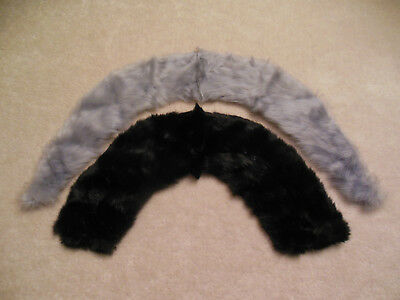 Vintage Fur Collars Lot Of 2 Black & Silver Gray Soft Satin Lined Free Shipping!