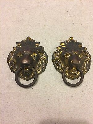 Seth Thomas Adamantine Style Mantle Clock Lions Head Side Decorations