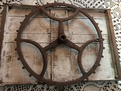 VINTAGE CAST IRON METAL WHEEL GEAR SPROCKET  ~ Steampunk Industrial Decor ~17""