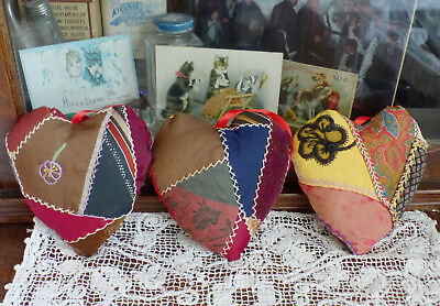 Antique Crazy Quilt Hearts Sachet Hanging Ornaments with lavender 3 Valentines