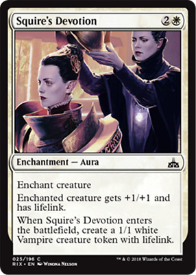 MTG Magic the Gathering 4x Squire's Devotion Rivals of IXALAN MINT