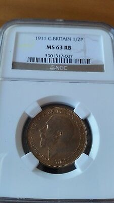 Great Britain 1911 George V Halfpenny  Ngc Ms 63Rb