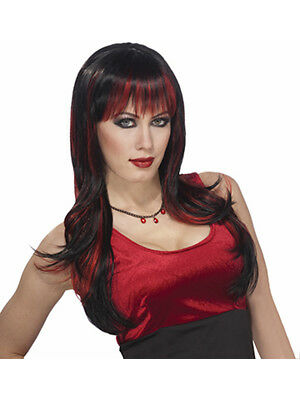 Womens Sexy Red and Black Costume Vicious Wig