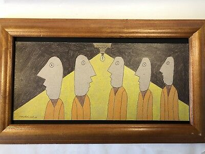 Tim Hitchcock Original Folk Art Drawing Signed Framed Dated Maryland Outsider