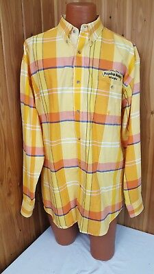 Twenty 20X Mens XL Wrangler Yellow Plaid L/S Button Front Puyallup Rodeo Shirt