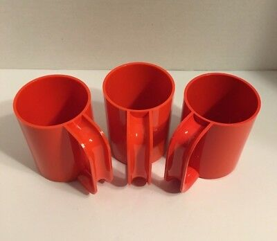3 Vintage Heller Design By Massimo Vignelli Orange Max Mugs 1599