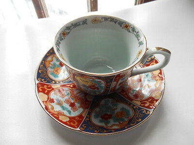 Japanese Tea Cup and Saucer - Blue and Coral Panels Floral Bird Design Gold Trim