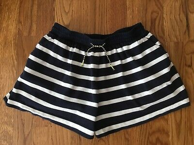 GIRL'S CREWCUTS J. CREW Navy Blue White Striped Cotton Knit SHORTS SIZE 10