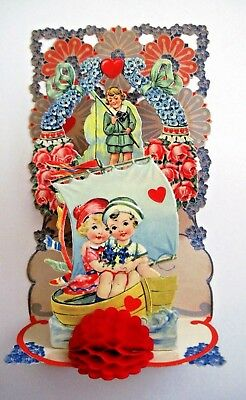 Large Victorian Valentine Card w/ Adorable Couple In Boat Die Cut Scraps *