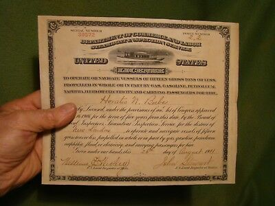 1911 Dept Of Commerce & Labor Steamboat inspection service United states license