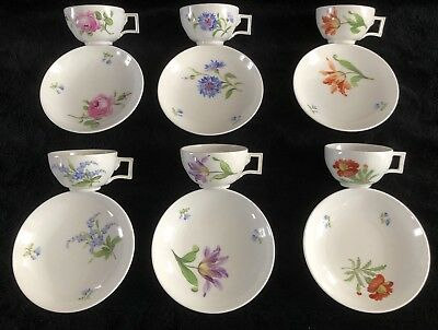 Beautiful Antiques Meissen porcelain Set Of 6 Cups And Saucer