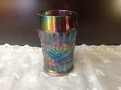 Vintage Lg Wright Carnival Amethyst Glass Tumbler Bless Our Home In God We Trust