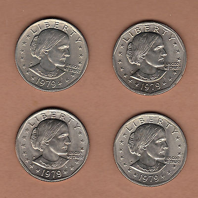1979 P & D Susan B Anthony Dollar Coins SBA$1 Four $1 Coins circulated
