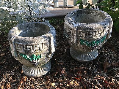 Vtg Lot Set Pair Concrete Pedestal Garden Patio Planters GRAPE Motif