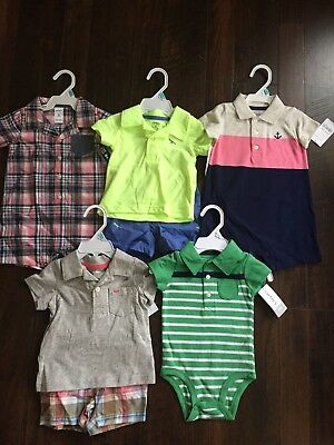NWT Baby Boys Carter's Summer Clothes Lot Size 6 Months Romper Outfits