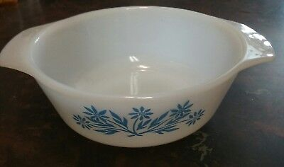 Small Fire-King milkglass bowl with blue flower