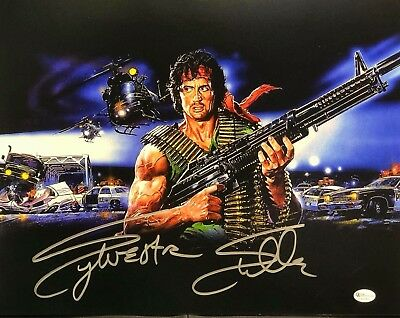 Signed Sylvester Stallone 11x14 RAMBO - Online Authentics Autograph PROOF Full