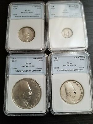 4 SILVER COINS FROM EGYPT  5,10, 20 Piastres & 2 MILLIEMES FOR  King FOUAD FIRST