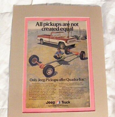 Vintage magazine ad 1974 Only JEEP Pickups offer Quadra-Trac - Matted