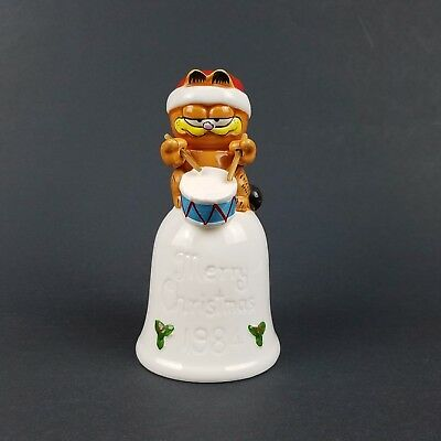 Vintage 1984 Garfield Bell Porcelain Christmas Drummer Decoration White