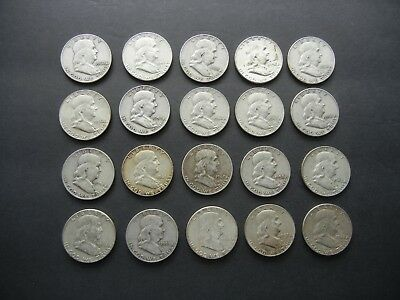 One Roll (20) Coins Franklin Half Dollar Coins 90% Silver…Various Dates