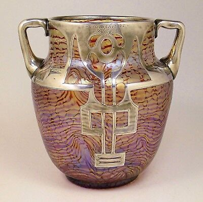 Rare Sterling Overlay HECKERT Art Glass Vase OTTO THAMM Design c.1902 Loetz Era