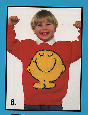 Vintage Knitting Pattern for Mr Men Sweater, Mr Happy Sizes 22 - 40