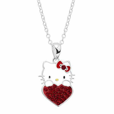 Girl's Hello Kitty January Heart Pendant with Crystals, Silver-Plated Brass