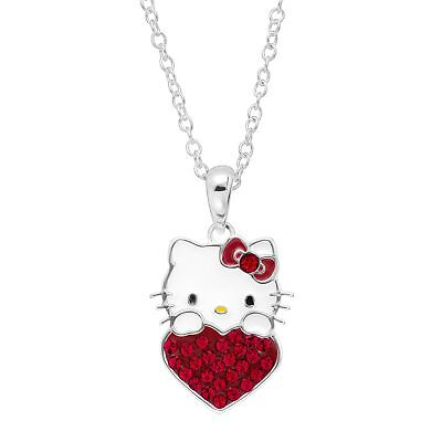 Girl's Hello Kitty July Heart Pendant with Crystals in Silver-Plated Brass