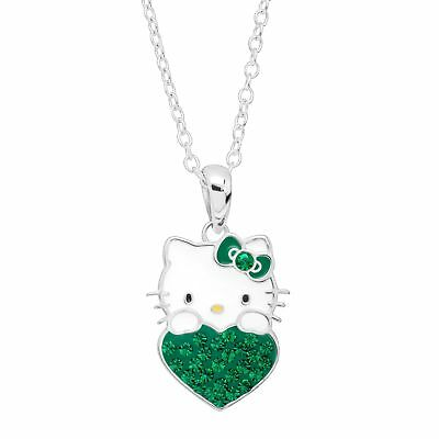 Girl's Hello Kitty May Heart Pendant with Crystals in Silver-Plated Brass