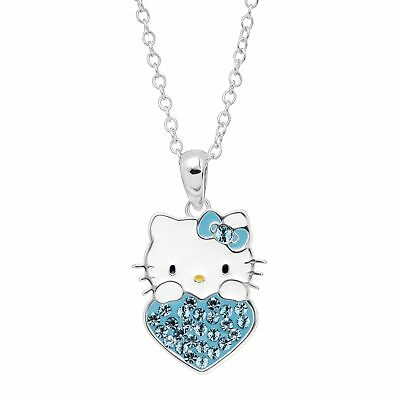 Girl's Hello Kitty March Heart Pendant with Crystals in Silver-Plated Brass